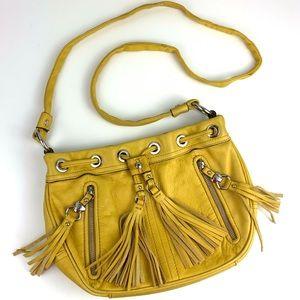 B. Makowsky Yellow Leather Crossbody Bag Purse